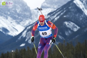 photo by Pam Doyle Leif Nordgren races in front of Canmore's Three Sisters Mountains in the mens 10 km sprint at the IBU World Cup on Feb. 4.